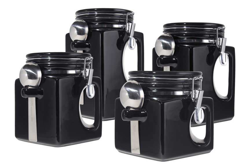 New oggi handles set of 4 black sealed ceramic canisters for Handle kitchen set